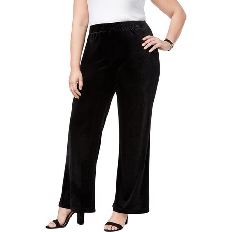 NY Collection Women's Plus Stretch Velvet Dress Pants