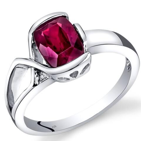 14 Karat White Gold Created Ruby Diamond Bezel Ring 1.76 Carats