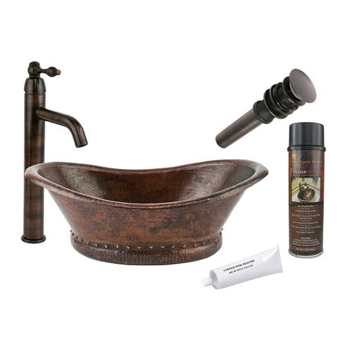 Premier Copper Products BSP1_VBT20DB Vessel Sink, Faucet and Accessories Package