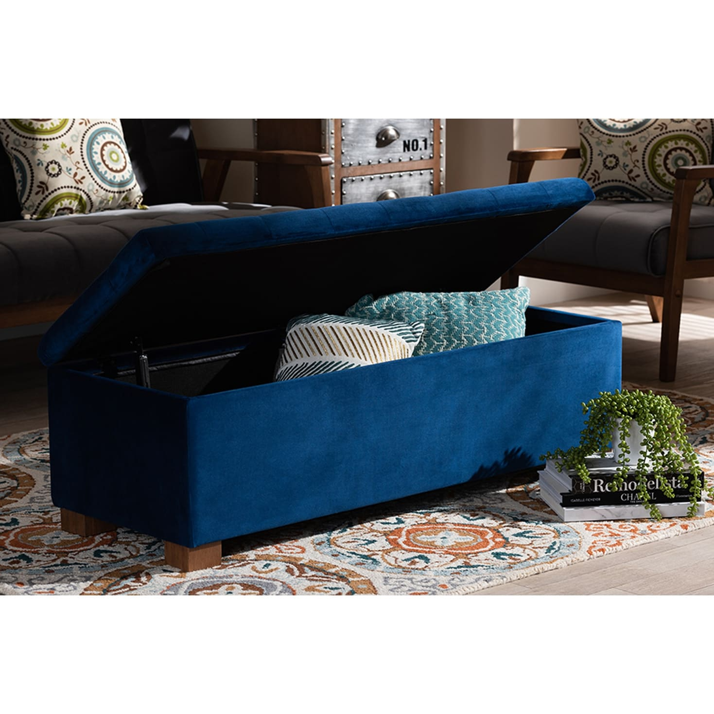 Cooper Navy Blue Velvet Fabric Grid Tufted Storage Ottoman Bench Overstock 29897754
