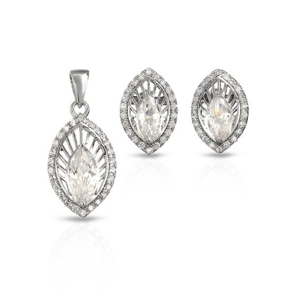 Mcs Jewelry Inc STERLING SILVER 925 CUBIC ZIRCONIA OVAL EARRING AND PENDANT SET WITH CENTER STONE