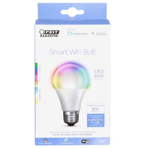 Feit Electric OM60/RGBW/CA/AG Dimmable Smart WiFi LED Bulb, 9 W