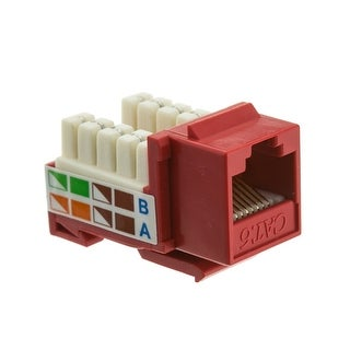 Offex Cat6 Keystone Jack, Red, RJ45 Female to 110 Punch Down
