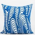 "G Home Collection Luxury Blue Warp Chevron Embroidered Pillow 20""X20"" - Thumbnail 0"