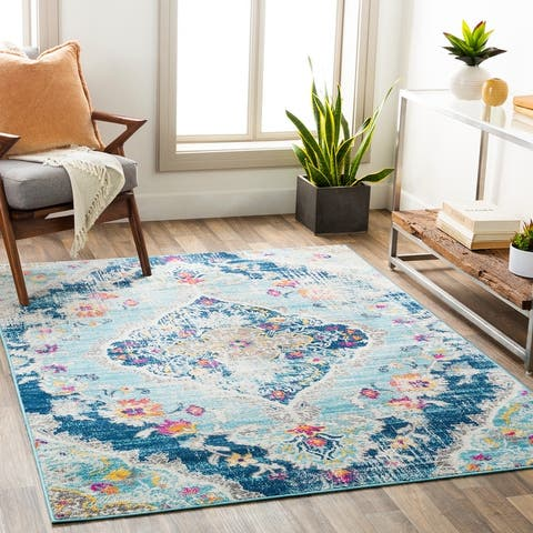 Mannie Distressed Boho Medallion Area Rug
