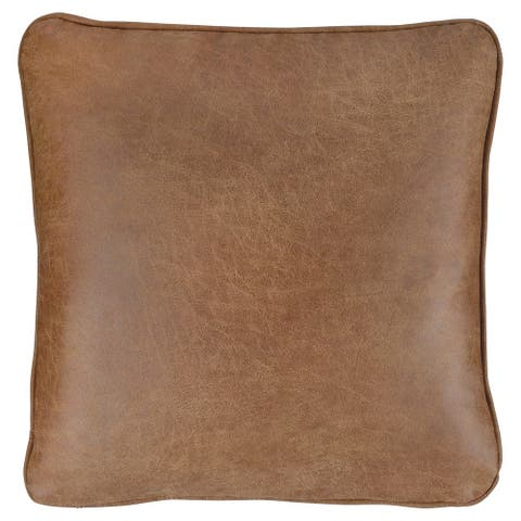 20 x 20 Leatherette Accent Pillow, Set of 4, Brown