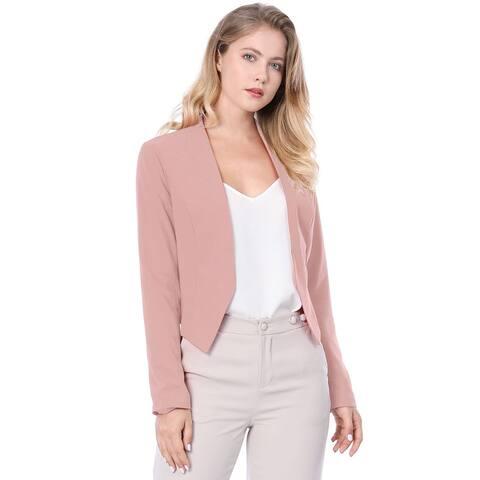 Allegra K Women Collarless Work Office Business Cropped Blazer Pink S