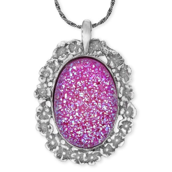 Pink Druzy Pendant in Sterling Silver