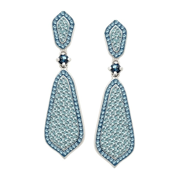 Crystaluxe Drop Earrings with Storm & Mist Swarovski Crystals in Sterling Silver - Blue