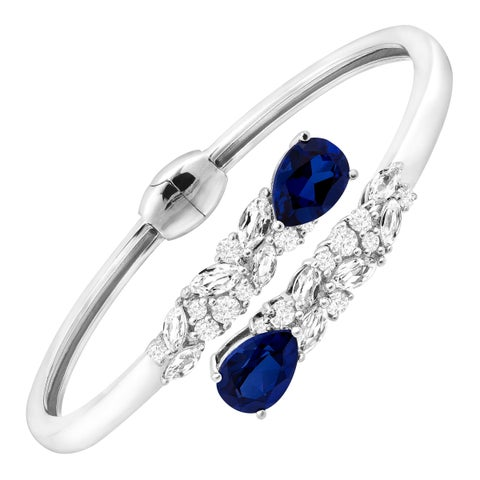 8 1/10 ct Blue & White Created Sapphire Bypass Cuff in Sterling Silver