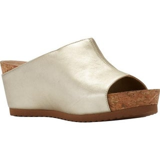 Walking Cradles Women's Tiegan Wedge Slide Sandal New Gold Mestico Leather