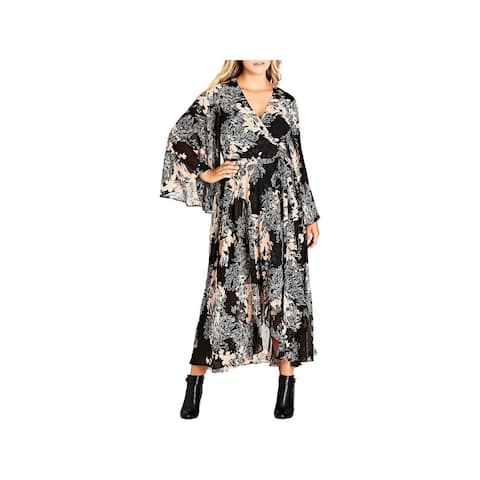 City Chic Womens Plus Wrap Dress Shadow Floral Print