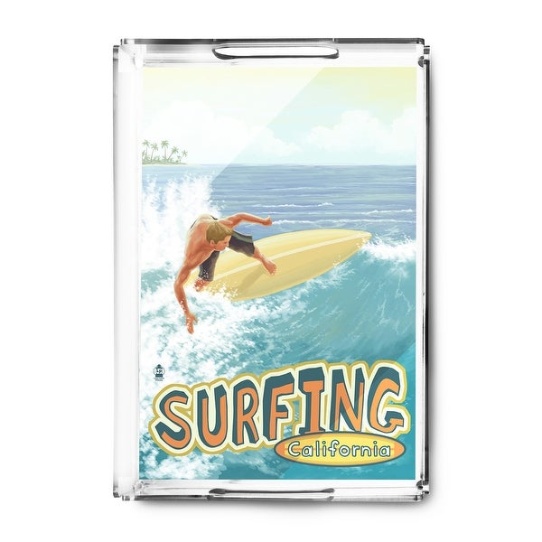 Surfing California - Lantern Press Artwork (Acrylic Serving Tray)