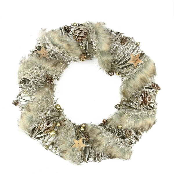 "13.5"" Brown Rustic Style Faux Fur Trimmed Glittered Christmas Wreath - Unlit"