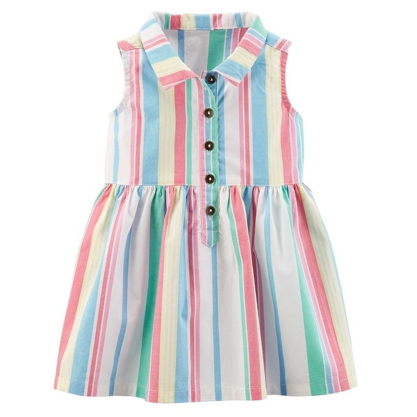 6aa9c808f Shop Carter's Baby Girls' Striped Poplin Shirt Dress - Free Shipping On  Orders Over $45 - Overstock - 27166596