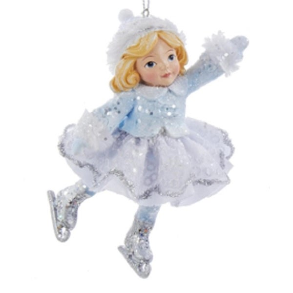 """4.25"""" Ice Palace Girl Ice Skater with Blue Collar Decorative Christmas Ornament"""