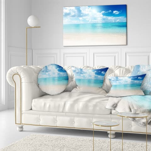 Sand of Beach in Blue Caribbean Sea - Modern Seascape Canvas Artwork Print