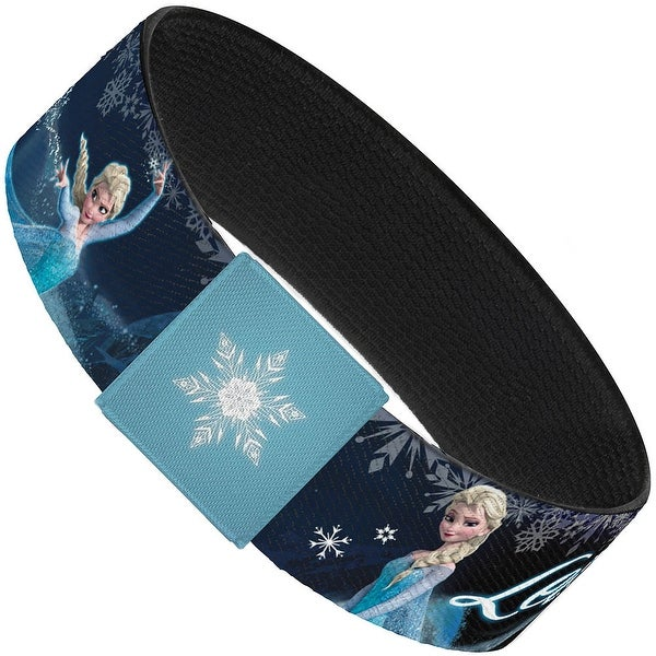 "Elsa The Snow Queen Poses Snowflakes Let It Go Blues White Elastic Bracelet 1.0"" Wide"