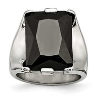 Chisel Stainless Steel Black CZ Polished Ring (17 mm)