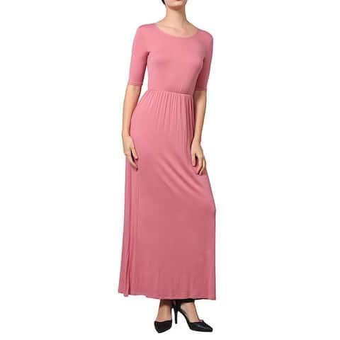 NE PEOPLE WOMEN'S Short Sleeve Scoop Neck Plain Maxi Dress [NEWDR44]