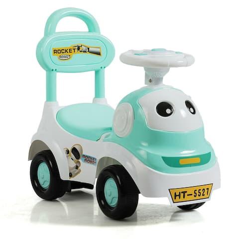 3-in-1 Baby Walker Sliding Pushing Car w/ Sound-Green