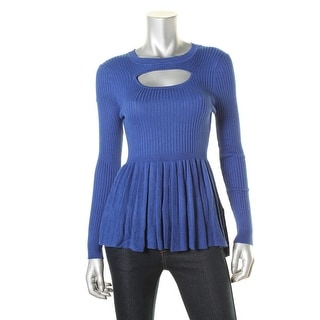 Material Girl Womens Juniors Ribbed Knit Cut-Out Sweater