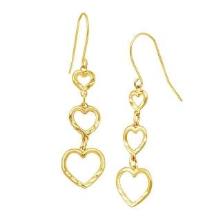 Just Gold Graduated Open Heart Drop Earrings in 10K Gold - YELLOW