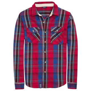 LRG Woven Flannel Shirt Large L Red & Blue Plaid Cotton Twill