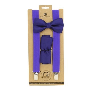 Men's Purple Solid 3 PC Clip-on Suspenders, Bow Tie and Hanky Sets