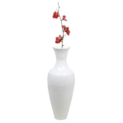 37 Inch White Modern Bamboo Tall Floor Vase