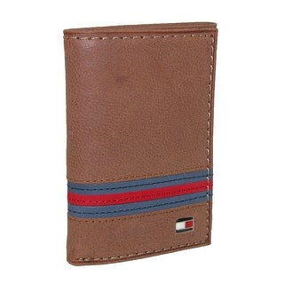 Tommy Hilfiger Men's Leather Yale Trifold Wallet - Tan - One Size