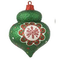 "4"" Christmas Brites Sparkling Glittered Green Onion Christmas Ornament"
