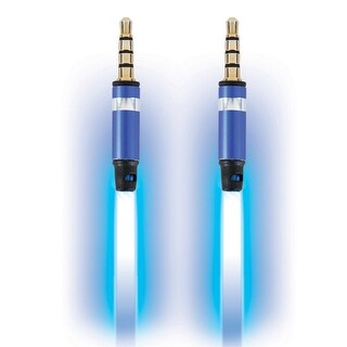 Pilot Automotive Electroluminescent Light Up Audio Response 3.5mm to 3.5mm Visible Auxiliary Stereo Aux Audio Cable