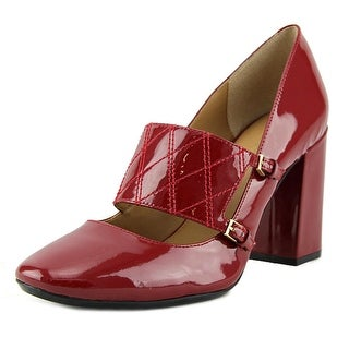 Calvin Klein Casilla Women Round Toe Patent Leather Red Mary Janes