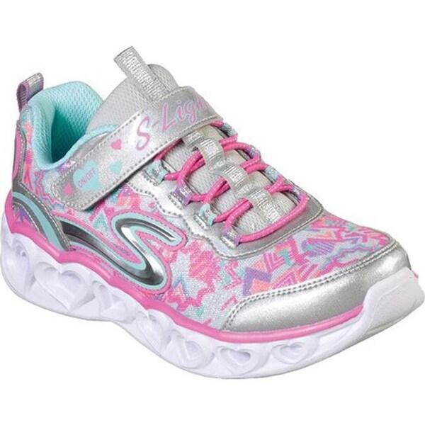 Details about Skechers Kids Girls' Heart Lights Sneaker, SilverMulti, 6 Medium US Toddler