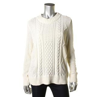 Love Scarlett Womens Metallic Cable Knit Mock Turtleneck Sweater