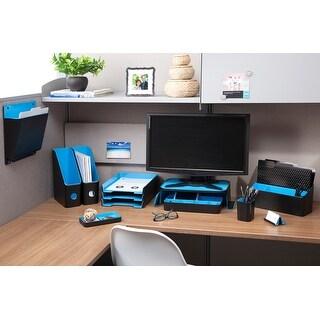"""Fusion Letter Tray 10""""X12.75""""X1.75""""-Black W/Blue Interior - black w/blue interior"""
