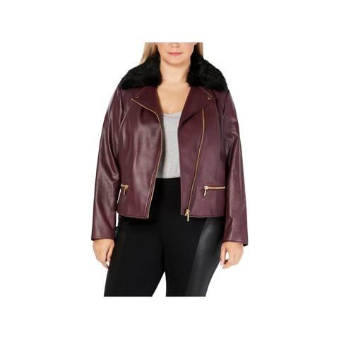 MICHAEL Michael Kors Womens Plus Motorcycle Jacket Winter Fur Collar