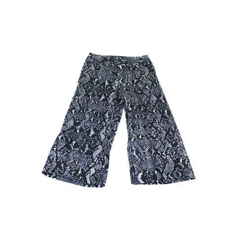 Inc International Concepts Black Snakeskin-Print Cropped Pants