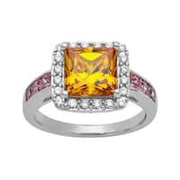 Ring with 3 ct Yellow, White and Pink Cubic Zirconia in Sterling Silver - Yellow