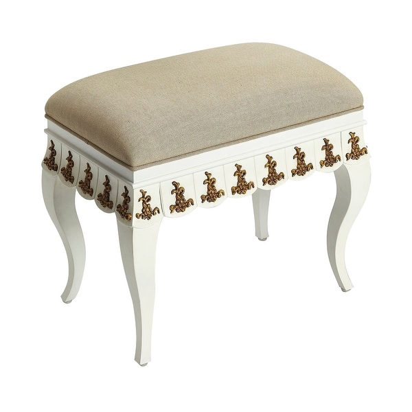 Traditional White and Gold Rectangular Vanity Stool - N/A
