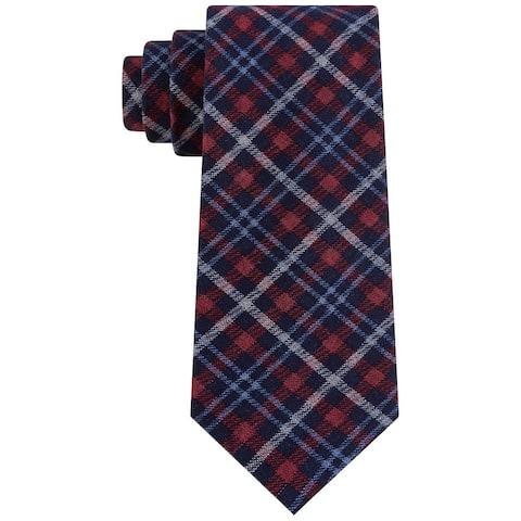 Tommy Hilfiger Men's Boston Classic Plaid Tie Red Size Regular