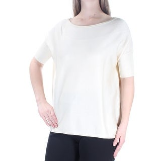 Womens Ivory Short Sleeve Jewel Neck Top Size M