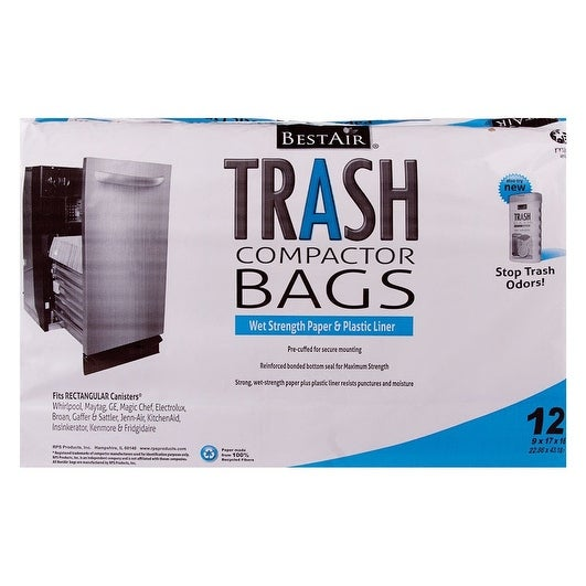 BestAir WMCK1335012-6 Trash Compactor Bags, 12 Bags