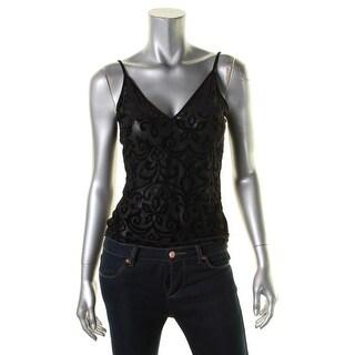 Aqua Womens Devore Bodysuit Velvet V-Neck
