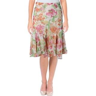 Lauren Ralph Lauren Womens Madrina Peasant, Boho Skirt Georgette Floral Print