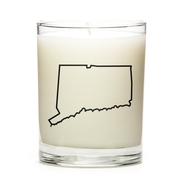 Custom Candles with the Map Outline Conneticut, Fresh Linen