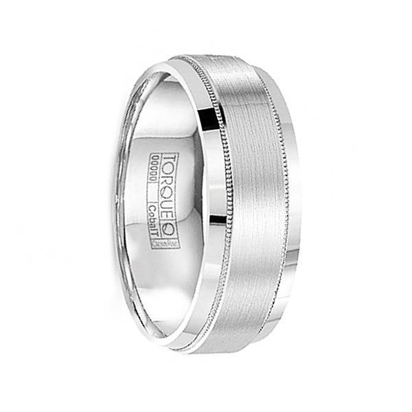 HASEO Brushed Raised Center Cobalt Ring with Milgrain Accents & Polished Edges by Crown Ring - 8mm