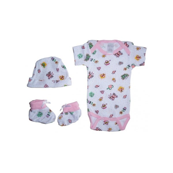 Bambini Baby Girls Newborn Print Rib Knit Bodysuit, Knotted Cap & Booties Gift Set 3-Piece