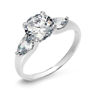 Bling Jewelry Sterling Silver CZ Solitaire Engagement Ring with Pear Accent